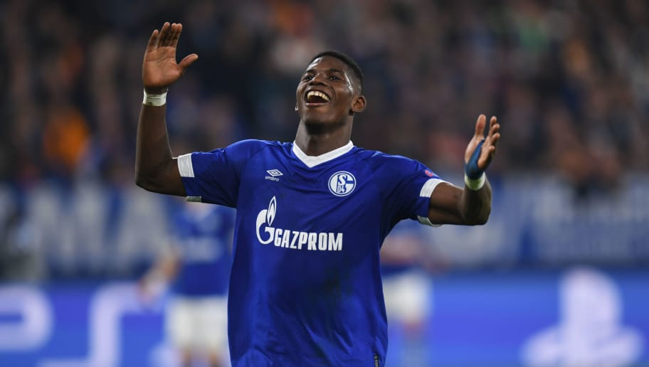 Schalke's Swiss forward Breel Embolo reacts during the UEFA Champions League group D football match FC Schalke 04 v Galatasaray in Gelsenkirchen, western Germany, on November 6, 2018. (Photo by Patrik STOLLARZ / AFP)        (Photo credit should read PATRIK STOLLARZ/AFP/Getty Images)