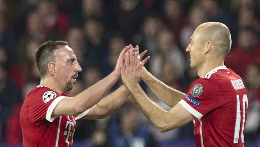 Bayern Munich's French midfielder Franck Ribery (L) and Bayern Munich's Dutch midfielder Arjen Robben celebrate their team's second goal during the UEFA Champions League quarter-final first leg football match between Sevilla FC and Bayern Munich at the Ramon Sanchez Pizjuan Stadium in Sevilla on April 3, 2018. / AFP PHOTO / JORGE GUERRERO        (Photo credit should read JORGE GUERRERO/AFP/Getty Images)