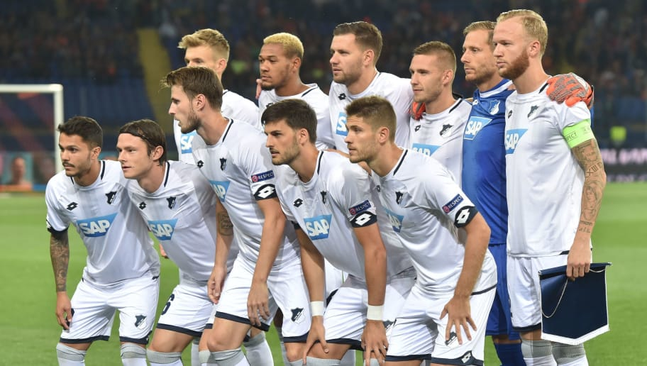 Hoffenheim's players pose before the UEFA Champions League Group F football match between FC Shakhtar Donetsk and TSG 1899 Hoffenheim at the Metalist Stadium in Kharkiv on September 19, 2018. (Photo by SERGEI SUPINSKY / AFP)        (Photo credit should read SERGEI SUPINSKY/AFP/Getty Images)