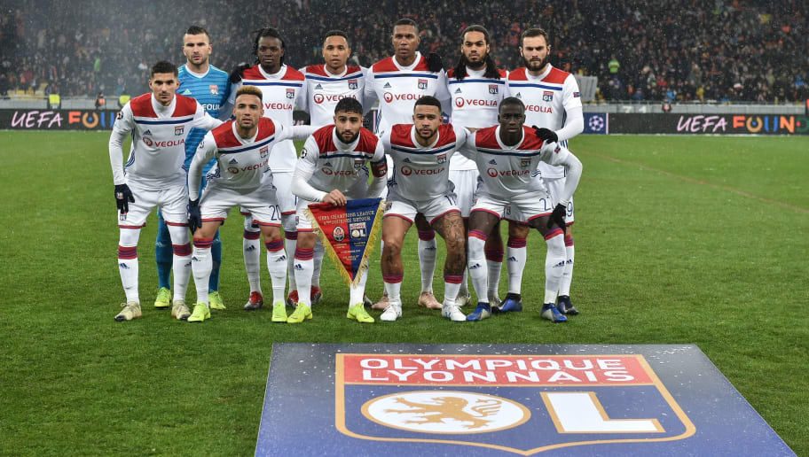 Lyon players pose for a photo before the UEFA Champions League, Group F football match FC Shakhtar Donetsk and Olympique Lyonnais at NSK Olimpiyskyi stadium in Kiev on December 12, 2018. (Photo by GENYA SAVILOV / AFP)        (Photo credit should read GENYA SAVILOV/AFP/Getty Images)