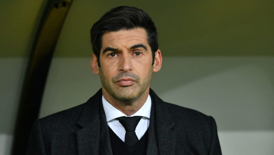 Donetsk's Portuguese head coach Paulo Fonseca looks on before the UEFA Champions League round of 16 first leg football match between Shaktar Donetsk and AS Rome at the OSK Metalist Stadion in Kharkiv on February 21, 2018. / AFP PHOTO / GENYA SAVILOV        (Photo credit should read GENYA SAVILOV/AFP/Getty Images)
