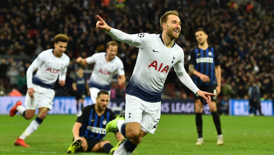 Tottenham Hotspur's Danish midfielder Christian Eriksen celebrates after scoring the opening goal of the UEFA Champions League group B football match between Tottenham Hotspur and Inter Milan at Wembley Stadium in London, on November 28, 2018. (Photo by Glyn KIRK / AFP)        (Photo credit should read GLYN KIRK/AFP/Getty Images)