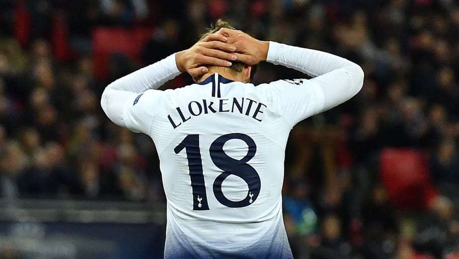 Tottenham Hotspur's Spanish striker Fernando Llorente reacts after failing to score during the UEFA Champions League group B football match between Tottenham Hotspur and PSV Eindhoven at Wembley Stadium in London, on November 6, 2018. (Photo by Ben STANSALL / AFP)        (Photo credit should read BEN STANSALL/AFP/Getty Images)