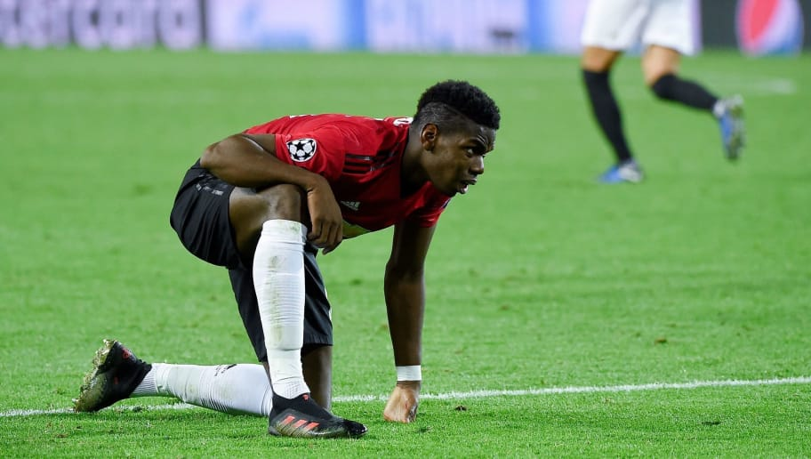 Manchester United's French midfielder Paul Pogba reacts at the end of the UEFA Champions League group H football match between Valencia CF and Manchester United at the Mestalla stadium in Valencia on December 12, 2018. (Photo by JOSE JORDAN / AFP)        (Photo credit should read JOSE JORDAN/AFP/Getty Images)