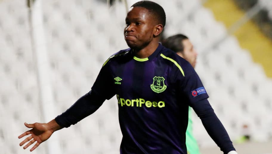 Everton's Ademola Lookman celebrates after scoring during the UEFA Europa League group stage football match between Apollon Limassol and Everton at the GSP stadium in the Cypriot capital Nicosia on December 7, 2017. / AFP PHOTO / -        (Photo credit should read -/AFP/Getty Images)