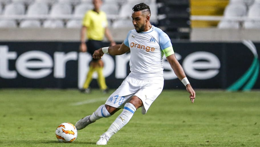 Marseille's French midfielder Dimitri Payet crosses the ball during the UEFA Europa League group H football match between Apollon Limassol and Olympique de Marseille at the GSP stadium in the Cypriot capital Nicosia on October 4, 2018. (Photo by Matthieu CLAVEL / AFP)        (Photo credit should read MATTHIEU CLAVEL/AFP/Getty Images)
