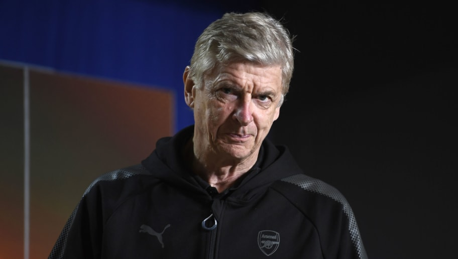 Arsenal's French manager Arsene Wenger arrives to hold a press conference at the Wanda Metropolitan Stadium in Madrid on May 2, 2018 on the eve of the UEFA Europa League semi-final second leg football match between Atletico Madrid and Arsenal. (Photo by PIERRE-PHILIPPE MARCOU / AFP)        (Photo credit should read PIERRE-PHILIPPE MARCOU/AFP/Getty Images)