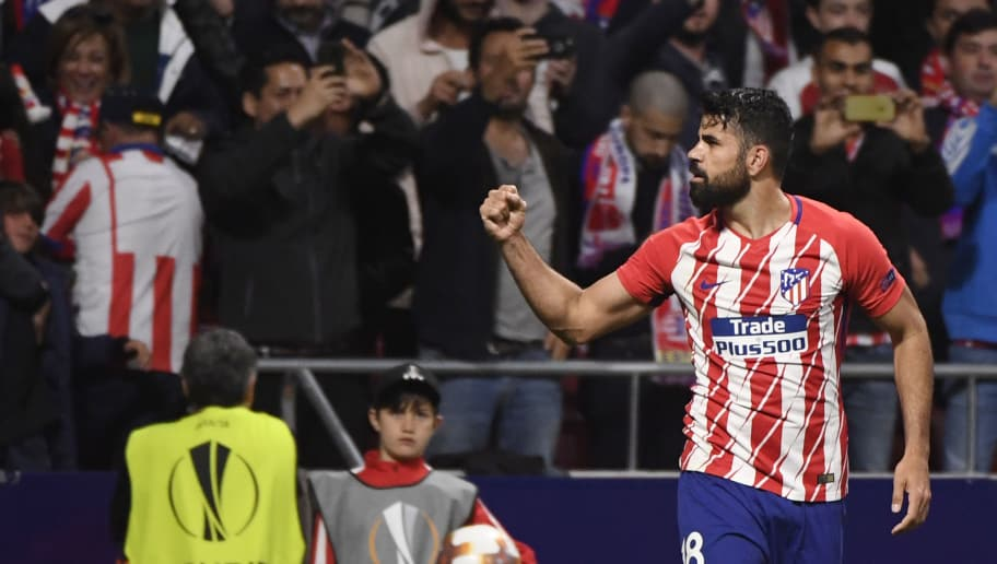 Atletico Madrid's Spanish forward Diego Costa celebrates a goal during the UEFA Europa League semi-final second leg football match between Club Atletico de Madrid and Arsenal FC. (Photo by PIERRE-PHILIPPE MARCOU / AFP)        (Photo credit should read PIERRE-PHILIPPE MARCOU/AFP/Getty Images)