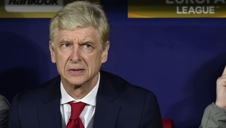 Arsenal's French coach Arsene Wenger looks on before the UEFA Europa League semi-final second leg football match between Club Atletico de Madrid and Arsenal FC at the Wanda Metropolitano stadium in Madrid on May 3, 2018. (Photo by PIERRE-PHILIPPE MARCOU / AFP)        (Photo credit should read PIERRE-PHILIPPE MARCOU/AFP/Getty Images)