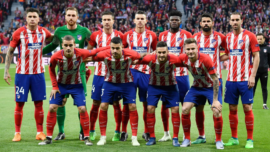 (BACK L-R) Atletico Madrid's Uruguayan defender Jose Gimenez, Atletico Madrid's Slovenian goalkeeper Jan Oblak, Atletico Madrid's Spanish midfielder Gabi, Atletico Madrid's French defender Lucas Hernandez, Atletico Madrid's Ghanaian midfielder Thomas, Atletico Madrid's Spanish forward Diego Costa, Atletico Madrid's Uruguayan defender Diego Godin, (FRONT L-R) Atletico Madrid's French forward Antoine Griezmann, Atletico Madrid's Spanish forward Vitolo, Atletico Madrid's Spanish midfielder Koke and Atletico Madrid's Spanish midfielder Saul Niguez pose before the UEFA Europa League semi-final second leg football match between Club Atletico de Madrid and Arsenal FC at the Wanda Metropolitano stadium in Madrid on May 3, 2018. (Photo by GABRIEL BOUYS / AFP)        (Photo credit should read GABRIEL BOUYS/AFP/Getty Images)