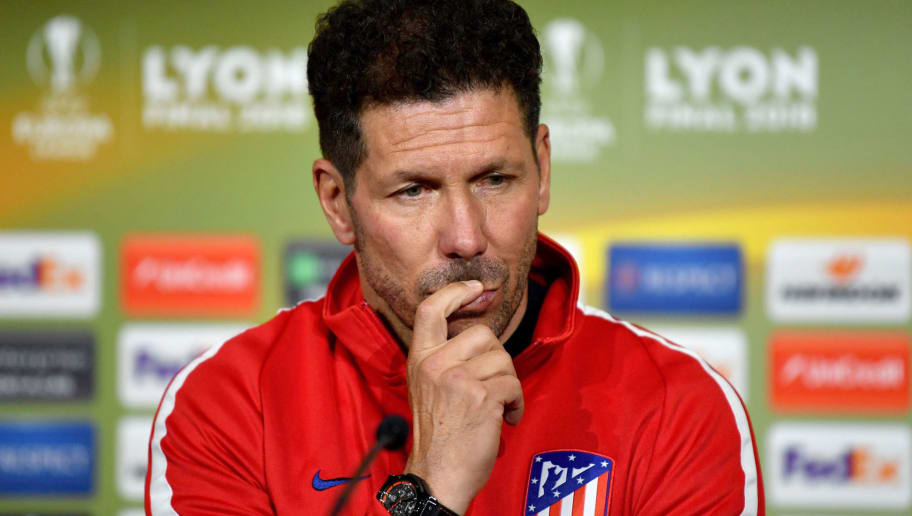 This handout picture taken and released by the UEFA shows Atletico Madrid's Argentinian coach Diego Simeone during a press conference on May 15, 2018 in Lyon on the eve of the UEFA Europa League Final between Olympique de Marseille and Atletico Madrid at the Parc OL stadium in Decines-Charpieu, near Lyon. (Photo by - / UEFA / AFP)        (Photo credit should read -/AFP/Getty Images)