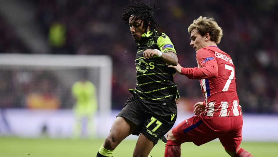Sporting's Portuguese forward Gelson Martins (L) vies with Atletico Madrid's French forward Antoine Griezmann during the UEFA Europa League quarter-final first leg football match between Club Atletico de Madrid and Sporting CP at the Wanda Metropolitano Stadium in Madrid on April 5, 2018. / AFP PHOTO / JAVIER SORIANO        (Photo credit should read JAVIER SORIANO/AFP/Getty Images)