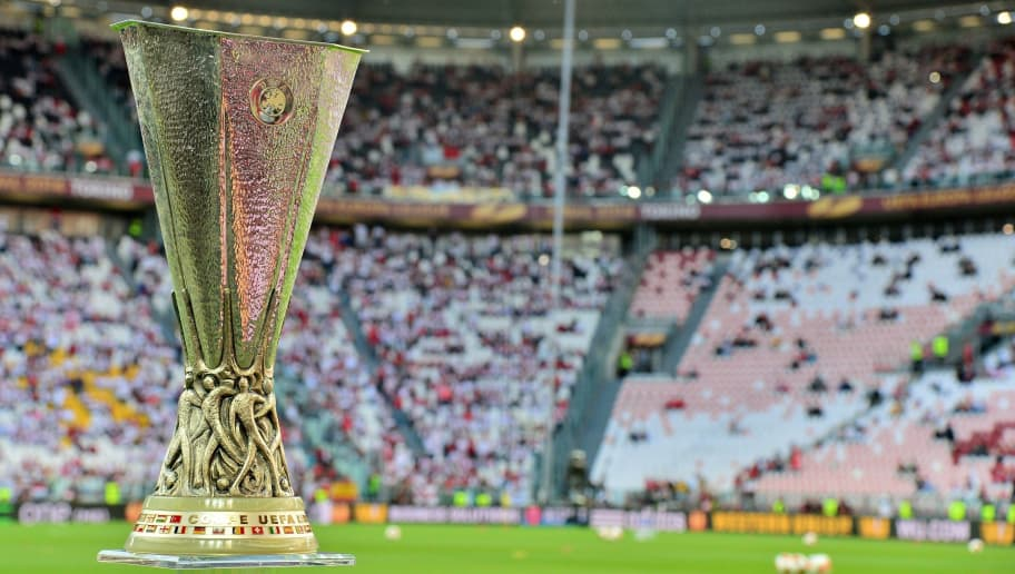 The Europa league trophy is on show prior to the start of the UEFA Europa league final football match between Benfica and Sevilla on May 14, 2014 at the Juventus stadium in Turin.   AFP PHOTO / GIUSEPPE CACACE        (Photo credit should read GIUSEPPE CACACE/AFP/Getty Images)