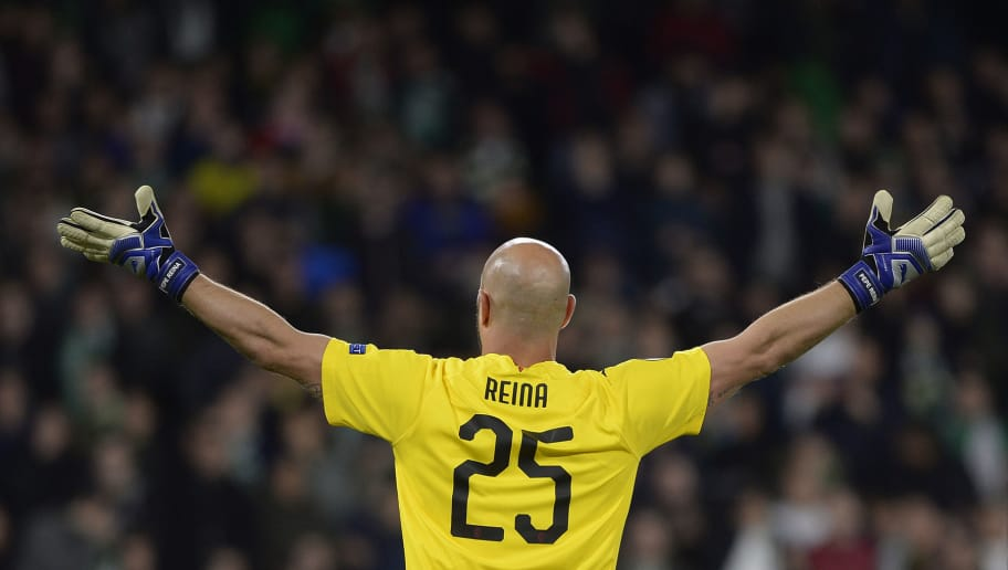 AC Milan's Spanish goalkeeper Pepe Reina reacts during the Europa League group F football match between Real Betis and AC Milan at the Benito Villamarin stadium in Sevilla on November 8, 2018. (Photo by CRISTINA QUICLER / AFP)        (Photo credit should read CRISTINA QUICLER/AFP/Getty Images)