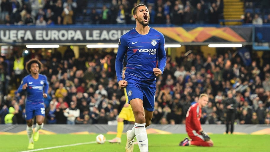 Chelsea's English midfielder Ruben Loftus-Cheek celebrates scoring the opening goal during the UEFA Europa League Group L football match between Chelsea and Bate Borisov at Stamford Bridge in London on October 25, 2018. (Photo by Glyn KIRK / AFP)        (Photo credit should read GLYN KIRK/AFP/Getty Images)