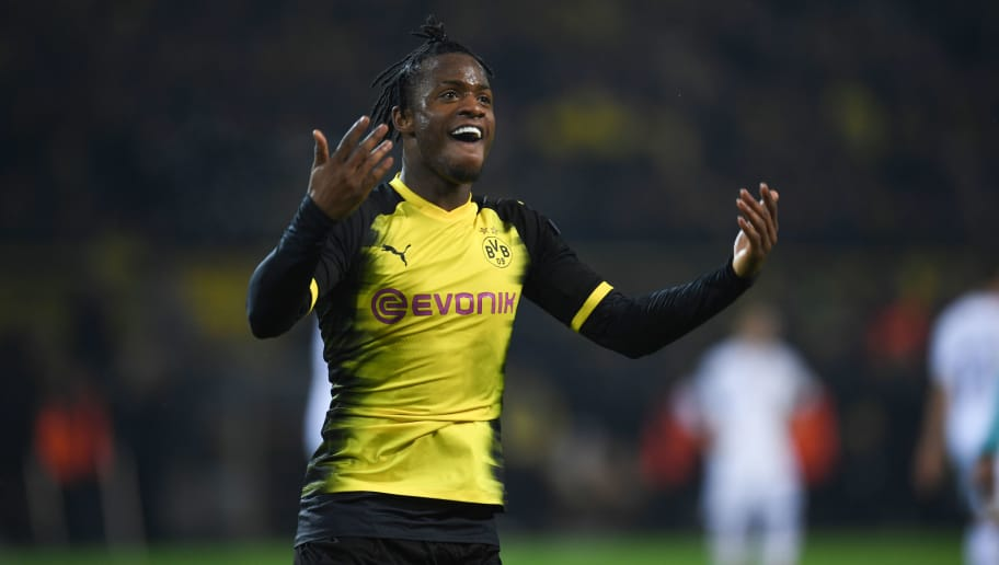 Dortmund's Belgian striker Michy Batshuayi reacts during the UEFA Europa League round of 32, first leg football match of Germany's Borussia Dortmund vs Italy's Atalanta Bergamo on February 15, 2018 in Dortmund, western Germany. / AFP PHOTO / Patrik STOLLARZ        (Photo credit should read PATRIK STOLLARZ/AFP/Getty Images)