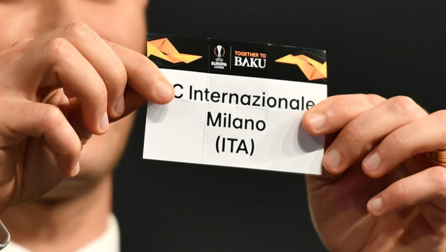 Former Portuguese football player Ricardo Carvalho shows the slip of FC Inter Milan during the draw for the round of 32 of the UEFA Europa League football tournament at the UEFA headquarters in Nyon on December 17, 2018. (Photo by Fabrice COFFRINI / AFP)        (Photo credit should read FABRICE COFFRINI/AFP/Getty Images)