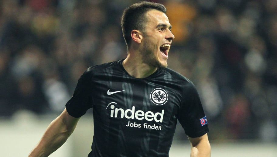 Frankfurt's Serbian midfielder Filip Kostic celebrates scoring the 1-0 during the UEFA Europe League Group H football match Eintracht Frankfurt v Apollon Limassol in Frankfurt am Main, western Germany on October 25, 2018. (Photo by Daniel ROLAND / AFP)        (Photo credit should read DANIEL ROLAND/AFP/Getty Images)
