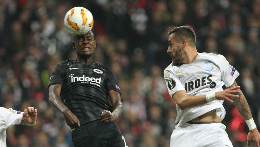 Frankfurt's French defender Even N'Dicka (C) vies for the ball  with Limassol's Apollon Limassol's French defender Valentin Roberge and Apollon Limassol's Cyprus midfielder Charis Kyriakou during the UEFA Europe League Group H football match Eintracht Frankfurt v Apollon Limassol in Frankfurt am Main, western Germany on October 25, 2018. (Photo by Daniel ROLAND / AFP)        (Photo credit should read DANIEL ROLAND/AFP/Getty Images)