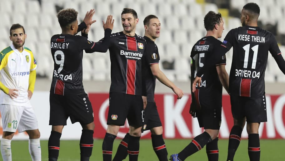 Bayer Leverkusen's Argentine forward Lucas Alario (3rd-L) celebrates his goal, his team's fifth, during the UEFA Europa League group A football match between AEK Larnaca and Bayer Leverkusen at the GSP stadium in Nicosia on December 13, 2018. (Photo by - / AFP)        (Photo credit should read -/AFP/Getty Images)