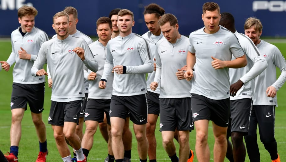 Leipzig's German forward Timo Werner (C) and teammates run during a training session on the eve of their quarter final Europa League football match RB Leipzig vs Olympique de Marseille (OM) at the Red Bull arena in Leipzig, eastern Germany, on April 4, 2018. / AFP PHOTO / John MACDOUGALL        (Photo credit should read JOHN MACDOUGALL/AFP/Getty Images)