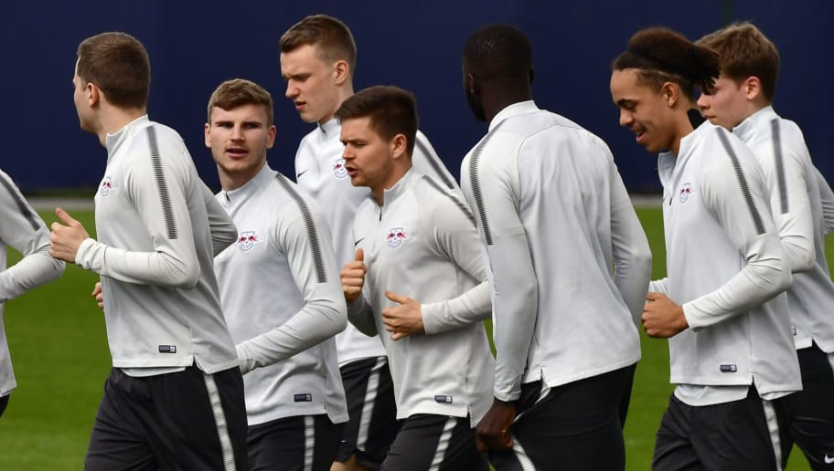 Leipzig's German forward Timo Werner (2ndL) and teammates run during a training session on the eve of their quarter final Europa League football match RB Leipzig vs Olympique de Marseille (OM) at the Red Bull arena in Leipzig, eastern Germany, on April 4, 2018. / AFP PHOTO / John MACDOUGALL        (Photo credit should read JOHN MACDOUGALL/AFP/Getty Images)