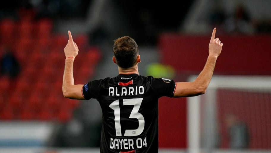Leverkusen's defender Lucas Alario celebrate scoring the 2-1 goal during the UEFA Europe League Group A football match Bayer Leverkusen v AEK Larnaca in Leverkusen, western Germany on October 4, 2018. (Photo by SASCHA SCHUERMANN / AFP)        (Photo credit should read SASCHA SCHUERMANN/AFP/Getty Images)