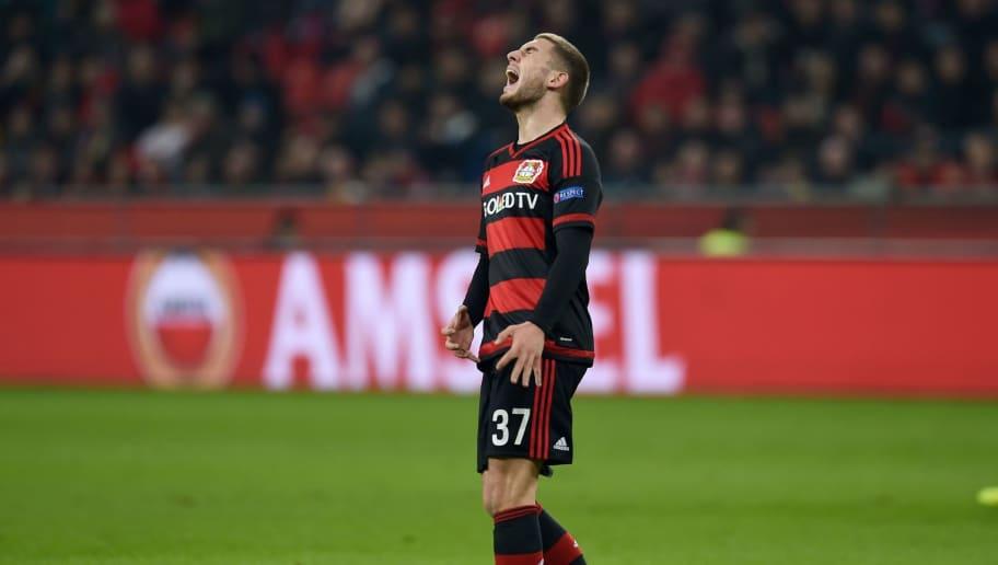 Leverkusen's midfielder Marlon Frey reacts during the UEFA Europa League Round of 16 second leg football match Bayer Leverkusen vs Villarreal in Leverkusen on March 17, 2016. / AFP / PATRIK STOLLARZ        (Photo credit should read PATRIK STOLLARZ/AFP/Getty Images)