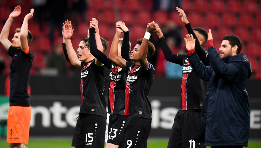 Leverkusen's players react after their victory at the end of the UEFA Europa League football match between Bayer 04 Leverkusen and FC Zurich in Leverkusen, western Germany, on November 8, 2018. (Photo by Patrik STOLLARZ / AFP)        (Photo credit should read PATRIK STOLLARZ/AFP/Getty Images)
