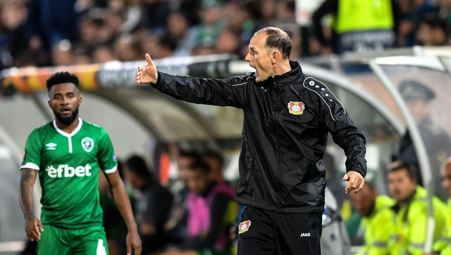 Leverkusen's German head coach Heiko Herrlich reacts on the touchline during the UEFA Europa League Group A football match between Ludogorets Razgrad and Bayer Leverkusen at Ludogorets Arena in Razgrad on September 20, 2018. (Photo by Dimitar DILKOFF / AFP)        (Photo credit should read DIMITAR DILKOFF/AFP/Getty Images)