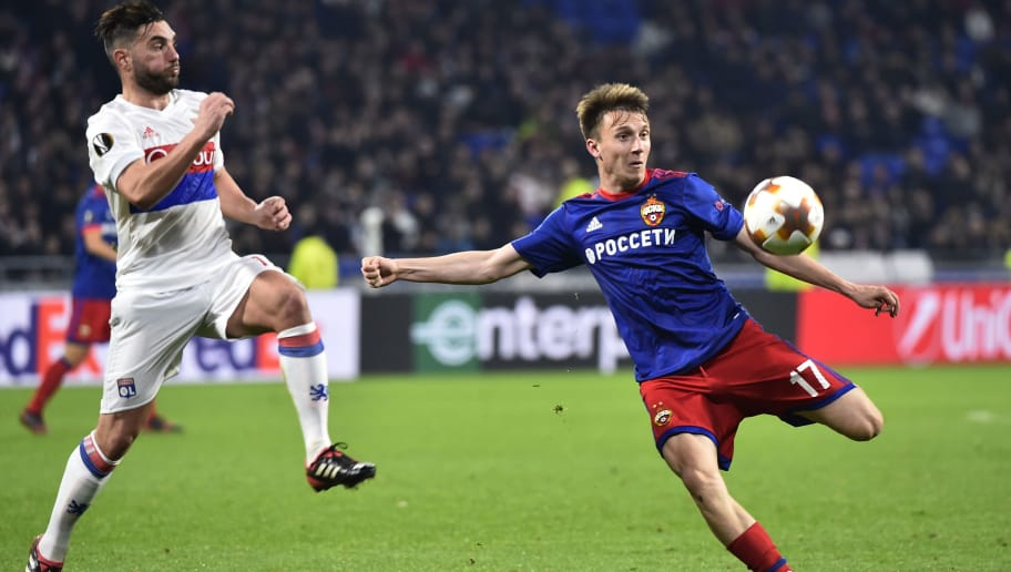 Moscow's Russian midfielder Alexandre Golovin (R) kicks the ball next to Lyon's French midfielder Jordan Ferri (L) during the UEFA Europa League round of 16 second-leg football match between Olympique Lyonnais vs CSKA Moscow on March 15, 2018, at the Groupama Stadium in Decines-Charpieu, central-eastern France.  / AFP PHOTO / ROMAIN LAFABREGUE        (Photo credit should read ROMAIN LAFABREGUE/AFP/Getty Images)