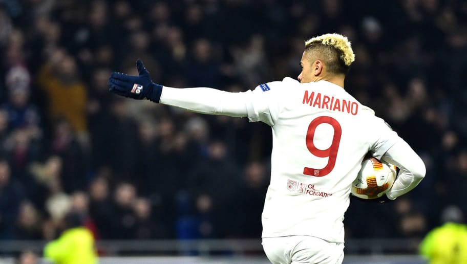 Lyon's Spanish forward Mariano Diaz celebrates after scoring a goal during the UEFA Europa League round of 16 football match between Lyon (OL) and Moscow (CSKA Moscow) at the Groupama stadium in Decines-Charpieu near Lyon, central-eastern France, on March 15, 2018.  / AFP PHOTO / ROMAIN LAFABREGUE        (Photo credit should read ROMAIN LAFABREGUE/AFP/Getty Images)