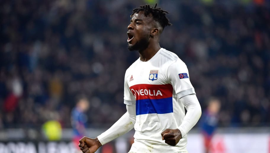 Lyon's French forward Maxwell Cornet celebrates after scoring a goal during the UEFA Europa League round of 16 football match between Lyon (OL) and Moscow (CSKA Moscow) at the Groupama stadium in Decines-Charpieu near Lyon, central-eastern France, on March 15, 2018. / AFP PHOTO / ROMAIN LAFABREGUE        (Photo credit should read ROMAIN LAFABREGUE/AFP/Getty Images)