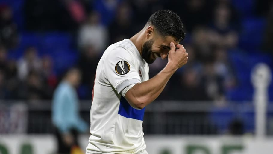 Lyon's French midfielder Nabil Fekir reacts during the UEFA Europa League football match between Lyon (OL) and Everton FC on November 2, 2017, at the Groupama Stadium in Decines-Charpieu, central-eastern France.  / AFP PHOTO / JEFF PACHOUD        (Photo credit should read JEFF PACHOUD/AFP/Getty Images)