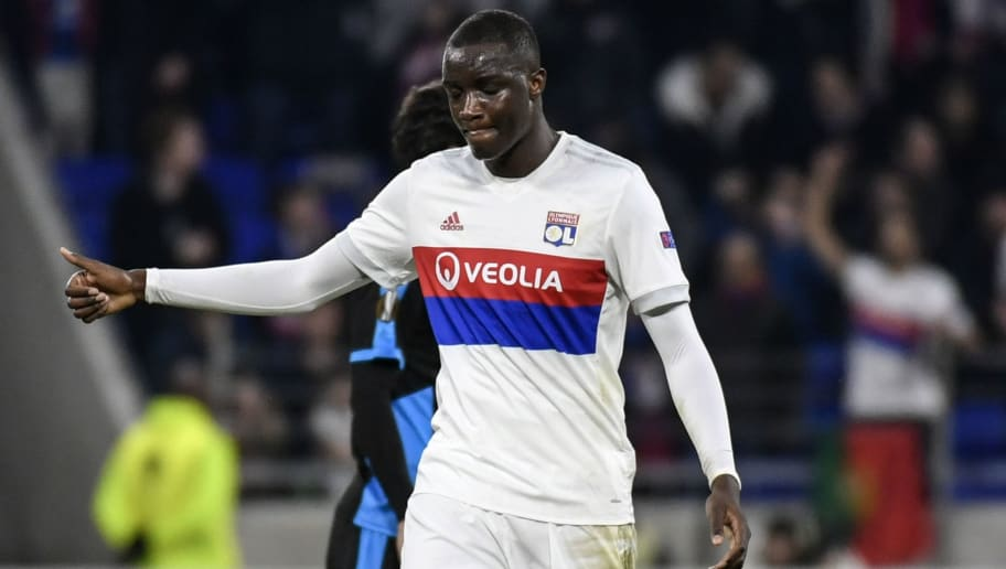 Lyon's defender Mouctar Diakhaby celebrates after scoring during the UEFA Europa League football match Olympique Lyonnais (OL) vs Apollon Limassol on November 23, 2017, at the Groupama Stadium in Decines-Charpieu, central-eastern France.   / AFP PHOTO / JEFF PACHOUD        (Photo credit should read JEFF PACHOUD/AFP/Getty Images)