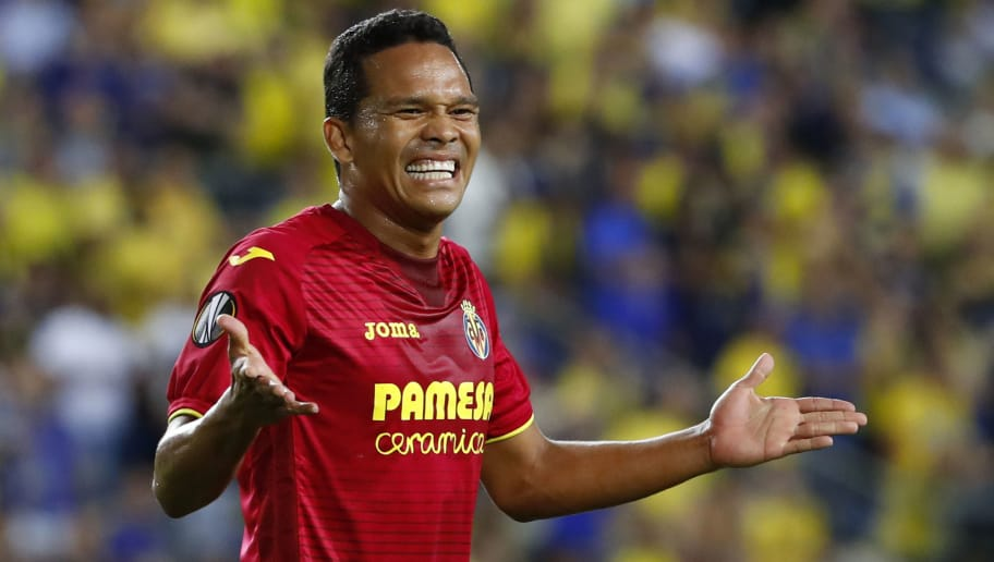 Villareal's Colombian forward Carlos Bacca reacts during the UEFA Europa League Group A football match between Maccabi Tel Aviv and Villarreal at the Netanya Municipal Stadium in Netanya, on September 28, 2017. / AFP PHOTO / JACK GUEZ        (Photo credit should read JACK GUEZ/AFP/Getty Images)