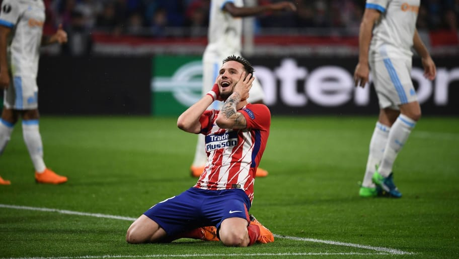 Atletico Madrid's Spanish midfielder Saul Niguez reacts during the UEFA Europa League final football match between Olympique de Marseille and Club Atletico de Madrid at the Parc OL stadium in Decines-Charpieu, near Lyon on May 16, 2018. (Photo by FRANCK FIFE / AFP)        (Photo credit should read FRANCK FIFE/AFP/Getty Images)