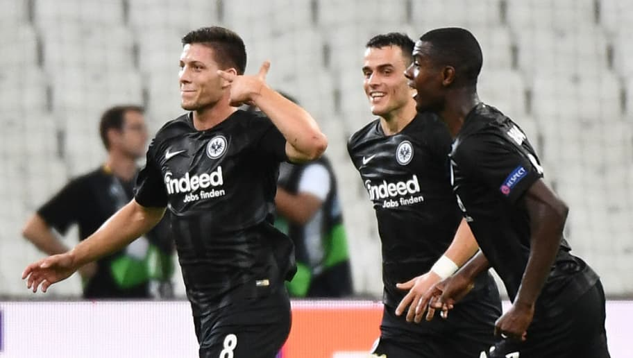 Frankfurt's Serbian forward Luka Jovic (L) celebrates after scoring a goal during the UEFA Europa League Group H first-leg football match between Marseille (OM) and Eintracht Frankfurt at the Velodrome stadium in Marseille, southeastern France, on September 20, 2018. (Photo by Boris HORVAT / AFP)        (Photo credit should read BORIS HORVAT/AFP/Getty Images)