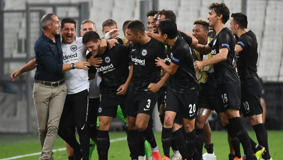 Frankfurt's Serbian forward Luka Jovic (3L) celebrates with teammates after scoring during the Europa League Group E football match between Olympique de Marseille (OM) and Eintracht Frankfurt at The Velodrome Stadium in Marseille on September 20, 2018. (Photo by Boris HORVAT / AFP)        (Photo credit should read BORIS HORVAT/AFP/Getty Images)