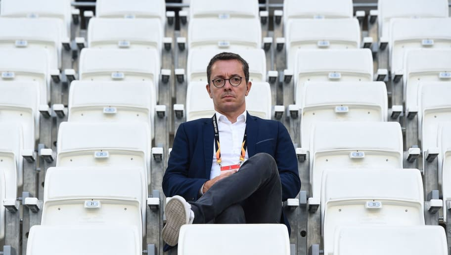 Marseille's French President Jacques-Henri Eyraud attends the UEFA Europa League Group H first-leg football match between Marseille (OM) and Eintracht Frankfurt at the Velodrome stadium in Marseille, southeastern France, on September 20, 2018. (Photo by Boris HORVAT / AFP)        (Photo credit should read BORIS HORVAT/AFP/Getty Images)
