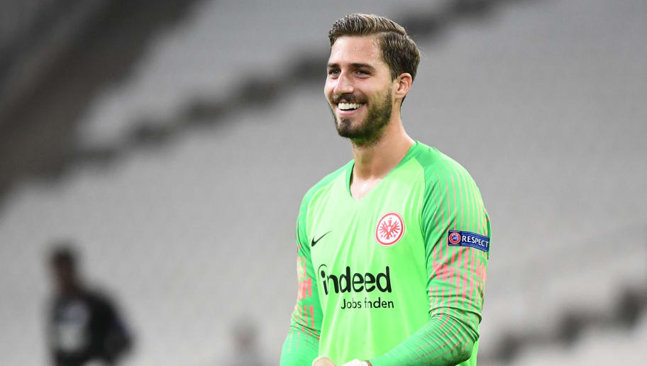 Frankfurt's German goalkeeper Kevin Trapp reacts after winning the UEFA Europa League Group H first-leg football match between Marseille (OM) and Eintracht Frankfurt at the Velodrome stadium in Marseille, southeastern France, on September 20, 2018. (Photo by Boris HORVAT / AFP)        (Photo credit should read BORIS HORVAT/AFP/Getty Images)