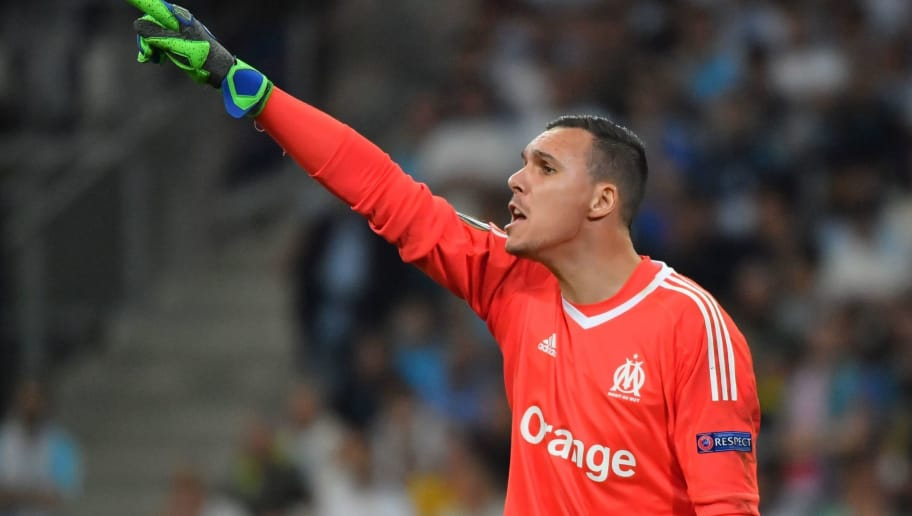 Marseille's French goalkeeper Yohann Pele gestures during the UEFA Europa League first-leg semi-final football match between Olympique de Marseille and FC Salzburg at the Velodrome Stadium in Marseille, southeastern France, on April 26, 2018. (Photo by Pascal GUYOT / AFP)        (Photo credit should read PASCAL GUYOT/AFP/Getty Images)