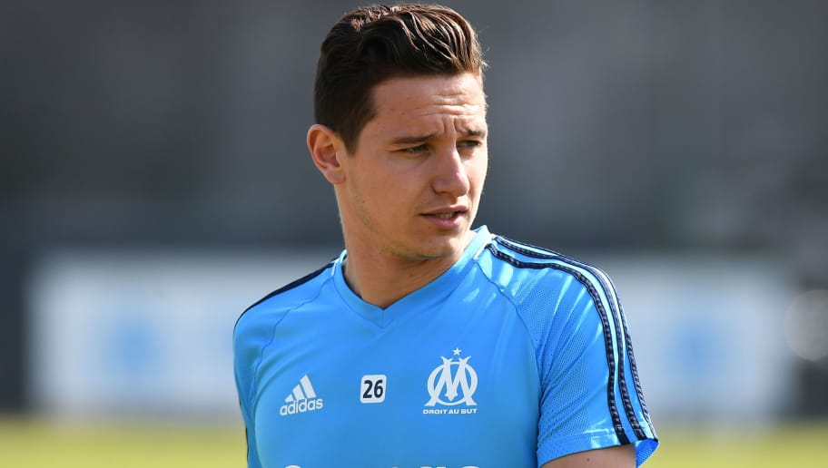 Olympique de Marseille's French midfielder Florian Thauvin warms up during the Europa League Media Day at the Robert-Louis Dreyfus stadium on May 8, 2018 in Marseille. (Photo by Boris HORVAT / AFP)        (Photo credit should read BORIS HORVAT/AFP/Getty Images)