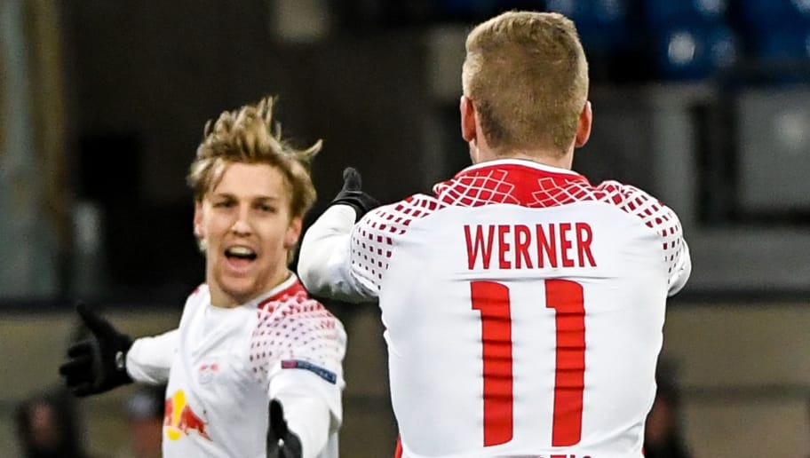 Leipzig's German forward Timo Werner (R) celebrates with teammate Leipzig's Swedish midfielder Emil Forsberg after scoring a goal during the UEFA Europa League football match between Napoli and Leipzig, on February 15, 2018 at San Paolo stadium in Naples.  / AFP PHOTO / Andreas SOLARO        (Photo credit should read ANDREAS SOLARO/AFP/Getty Images)