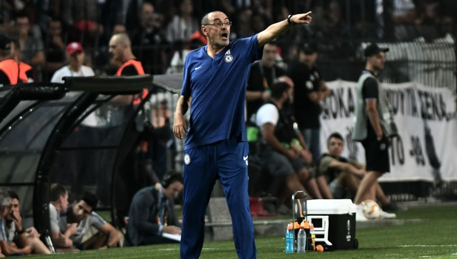 Chelsea's coach Maurizio Sarri reacts from the touchline during the UEFA Europa League Group L football match between PAOK Thessaloniki and Chelsea at Toumba stadium in Thessaloniki on September 20, 2018. (Photo by Sakis MITROLIDIS / AFP)        (Photo credit should read SAKIS MITROLIDIS/AFP/Getty Images)