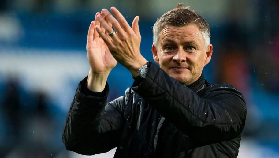 Molde FK´s headcoach Ole Gunnar Solskjaer celebrates after the UEFA Champions League third round, second leg qualifying football match between Molde FK and Hibernian at the Aker Stadium in Molde, Norway, on August 16, 2018. (Photo by Svein Ove Ekornesvaag / NTB SCANPIX / AFP) / Norway OUT        (Photo credit should read SVEIN OVE EKORNESVAAG/AFP/Getty Images)