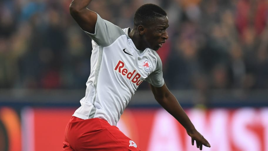 Salzburg's Malian midfielder Amadou Haidara celebrates after he scored a goal during the UEFA Europa League semi-final second leg match between FC Salzburg and Olympique de Marseille (OM) on May 3, 2018 in Salzburg, Austria. (Photo by Christof STACHE / AFP)        (Photo credit should read CHRISTOF STACHE/AFP/Getty Images)