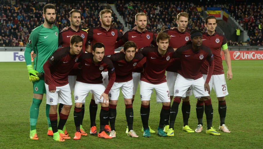Sparta Praha's players pose for the team photo prior to the UEFA Europa League round of 32 second-leg football match Sparta Prague v Rostov in Prague, Czech Republic on February 23, 2017. / AFP / Michal Cizek        (Photo credit should read MICHAL CIZEK/AFP/Getty Images)