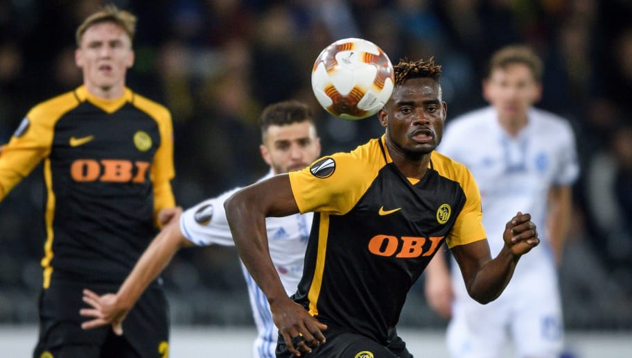 Young Boys' Ghanaian defender Kasim Adams Nuhu (2nd R) eyes the ball during   the UEFA Europa League Group B football match between Young Boys and Dynamo Kiev at Stade de Suisse stadium on November 2, 2017 in Bern. / AFP PHOTO / Fabrice COFFRINI        (Photo credit should read FABRICE COFFRINI/AFP/Getty Images)