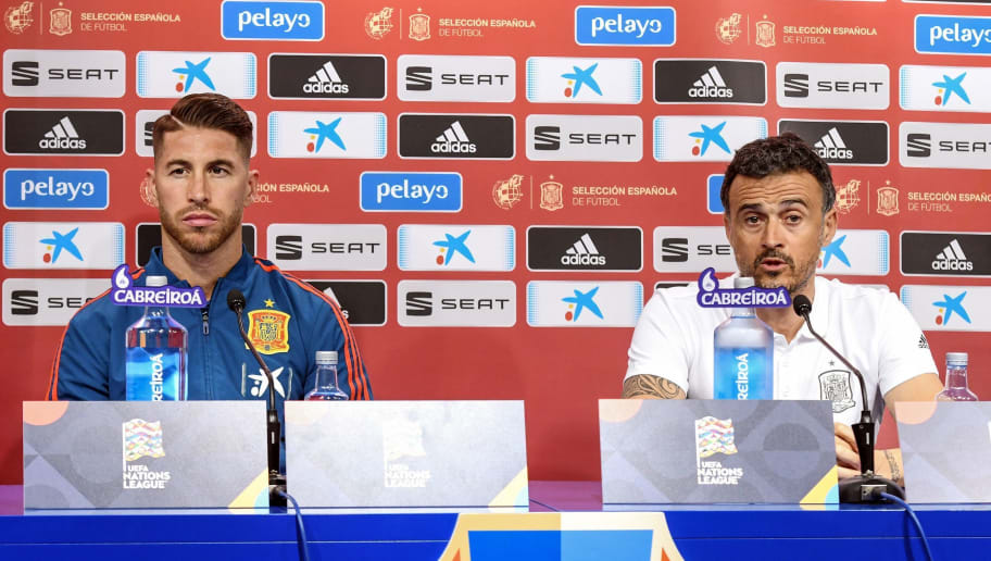Spain's national football team head coach Luis Enrique (R) and defender Sergio Ramos attend  a press conference at the Maksimir stadium in Zagreb on November 14, 2018 on the eve of the UEFA Nations League football match against Croatia. (Photo by - / AFP)        (Photo credit should read -/AFP/Getty Images)